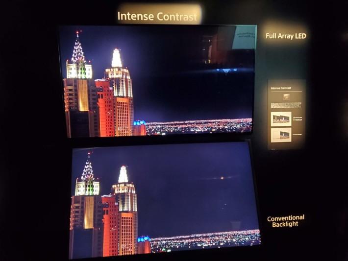 .Sony Z8H 和大部分今年的LCD電視都採用直照式LED背光,有助改善黑位表現。