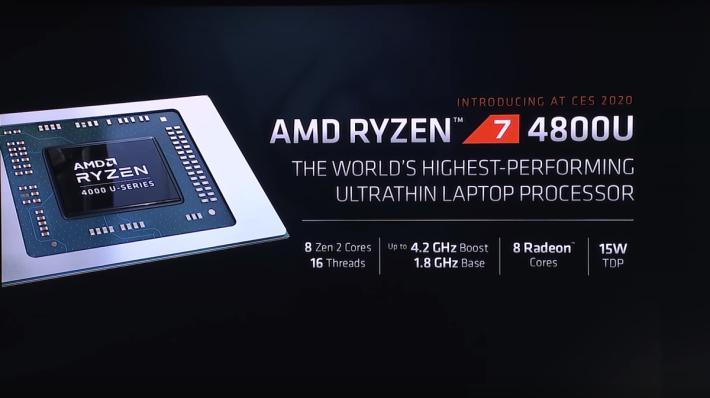 現場公佈 Ryzen 7 4800U 的產品規格