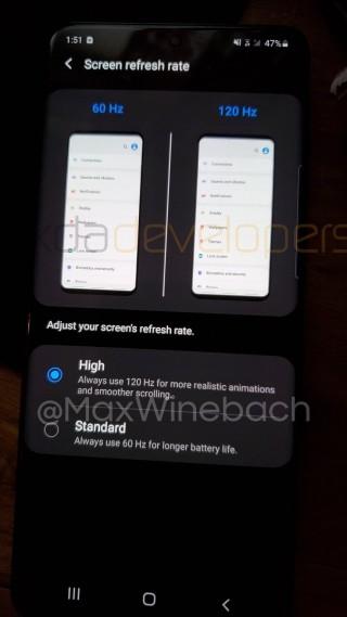 有爆料者指出 Galaxy S20 的 120Hz 更新率需於 FHD+ 解像度下使用。