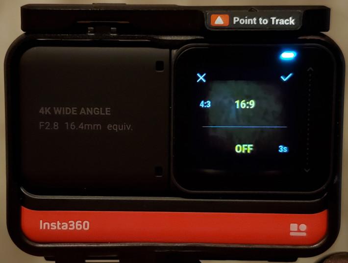 於相片模式點選右下角快捷鍵可設定相片比例及倒數計時。