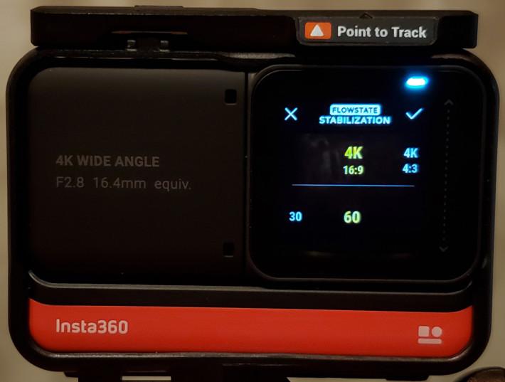 於影片模式點選右下角快捷鍵可設定影片解像度/比例及 frame rate。