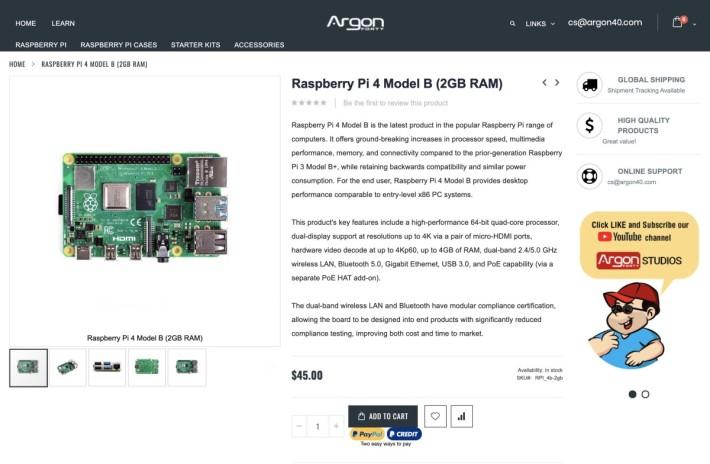 Raspberry Pi 4 的亞洲區代理的網站和淘寶上 2GB 版本仍以舊價發售