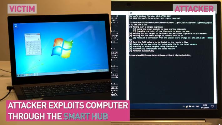 5. 駭客透過被駭的燈泡騎劫 Smart Hub ,從而騎劫受害者的電腦。