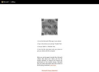 接收方在電腦的瀏覽器登入 transfer.office.com ,畫面上會顯示一個 QR Code 以便配對。