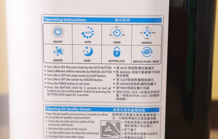 在機身側面有功能說明,可省卻翻閱說明書的時間。