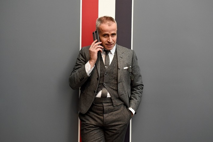 Designer Thom Browne demonstrates the new Samsung Galaxy Z Flip Thom Browne Edition