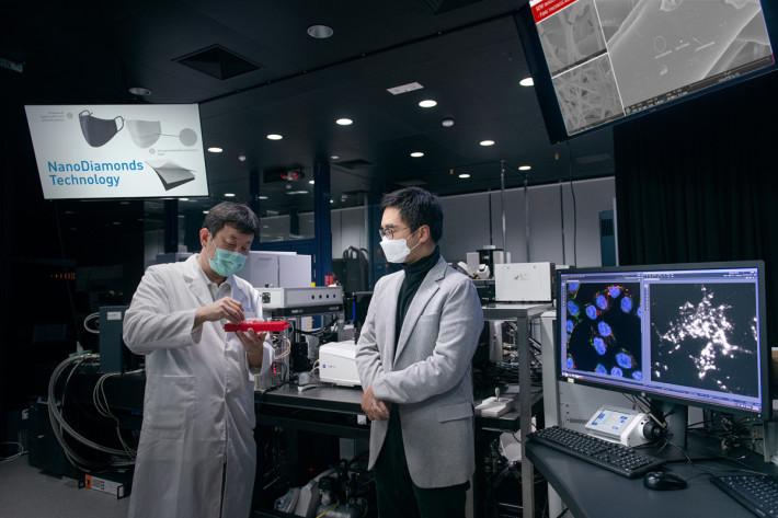與本地材料分析及技術研發的創科公司 Master Dynamic Limited (MD)合作,研發將納米鑽石(NanoDiamonds)加入口罩物料以提高其防護性能。