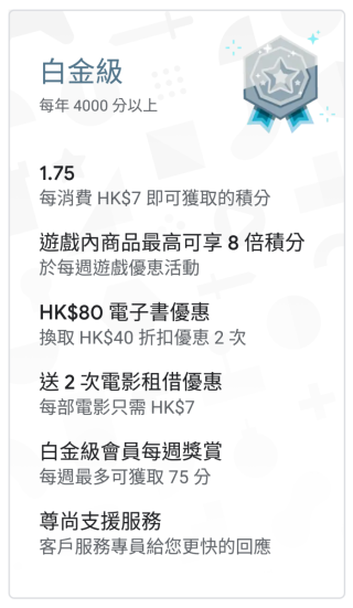 Google Play Points 白金級