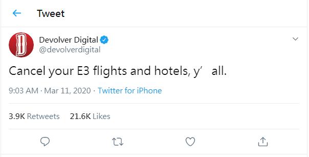 Devolver Digital 呼籲各位取消往 E3 的機票以及住宿。