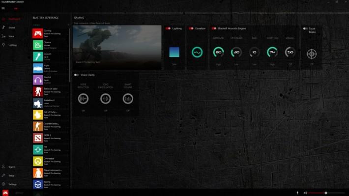 專用軟件《 Sound Blaster Connect 》具豐富的設定。