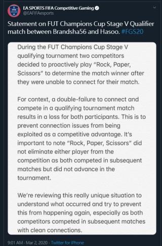 EA 官方則否認事件,指兩名選手於之後有如常進行賽事