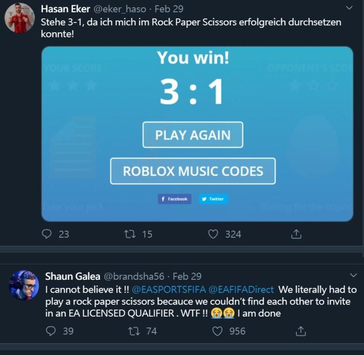 兩位選手在 Twitter上發文,指當時被官方要求以猜拳分出勝負