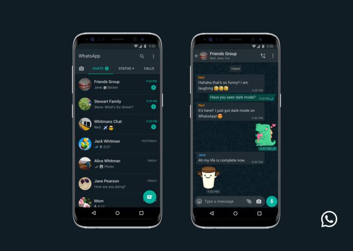 .Android 版 WhatsApp Dark Mode。