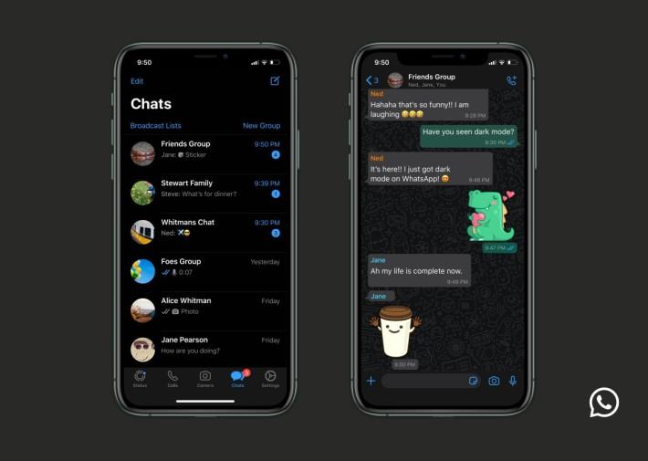 .iPhone 版 WhatsApp Dark Mode。