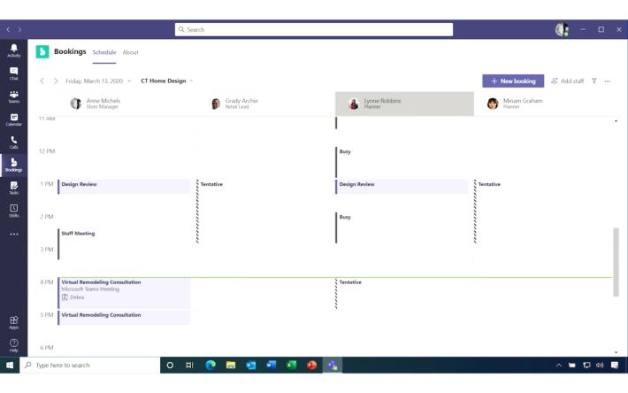 預約功能可為同事在行事曆上加入預約視像會議日程,例如會見客戶。