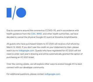 Google 透過 Google I/O 網站宣布今年大會取消實體活動。