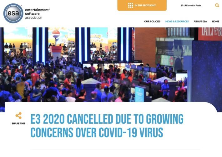esa 正式宣布 E3 2020 取消,廠商和參觀人士可望全數退款。