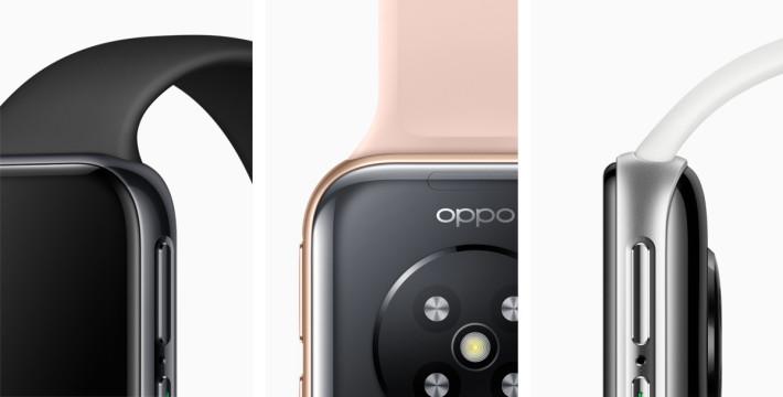 雖然驟眼看去還以為是 Apple Watch ,不過沒有錶冠,錶帶的扣位也有不同。