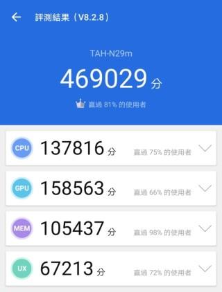 Kirin 990 5G 處理器於《AnTuTu》測試中獲得 469,029分,效能不錯。