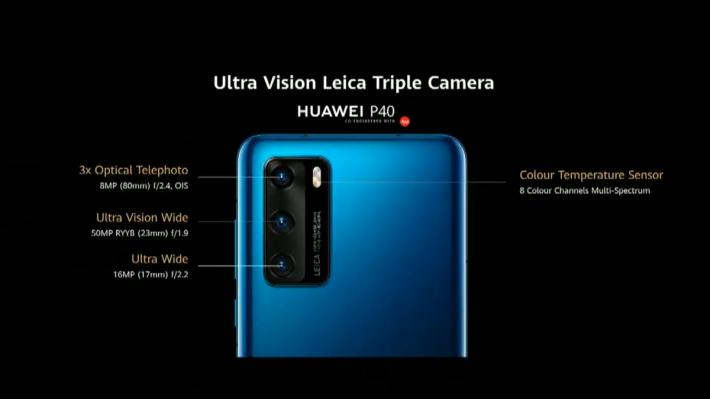 P40 三鏡由 50MP RYYB 排列的 Ultra Vision Wide 主鏡、8MP 3 倍變焦遠攝鏡及 17mm 16MP 超廣角所組成。