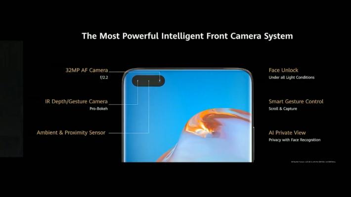 「藥丸」開孔設於左上方,內藏 32MP 前置鏡頭、IR/手勢辨識鏡頭及 Ambient and proximity sensor,除可錄影 4K 自拍影片,更可提供更佳的景深效果。