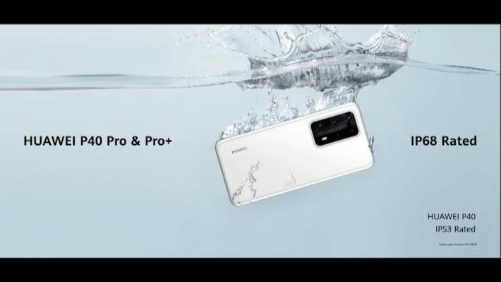 HUAWEI P40 Pro+ 外觀上與HUAWEI P40 Pro 類似,但使用了陶瓷物料機背,並支援 IP68 防水。