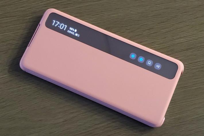 全透視感應皮套,毋須打開皮套,亦可顯示時間、控制音樂及接聽來電。($298、S20、S20+及S20 Ultra適用)