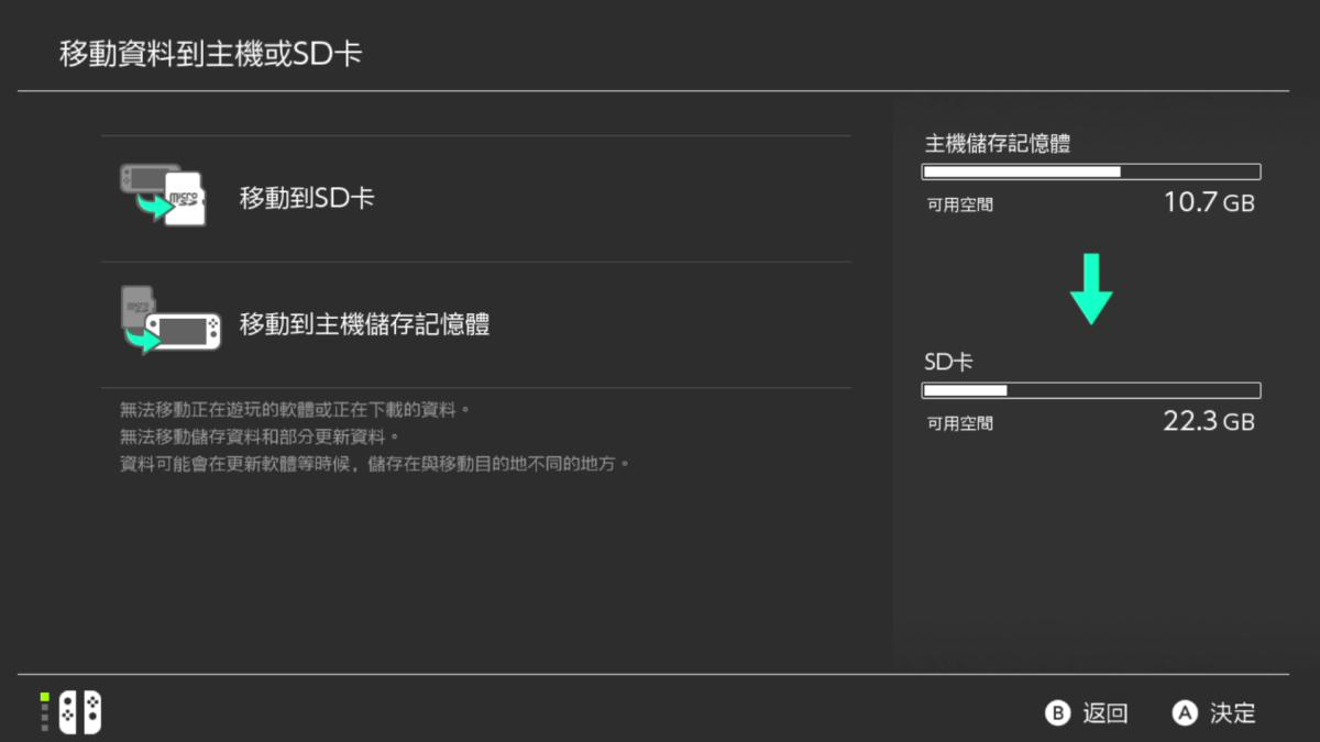 接下來玩家可選擇是將資料轉至 SD卡或主機上