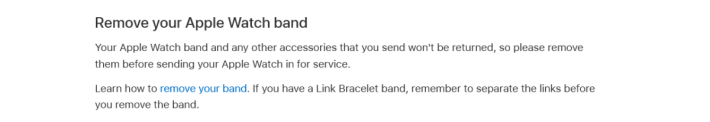 文件特別提醒用戶先把 Apple Watch 錶帶等配件拆下