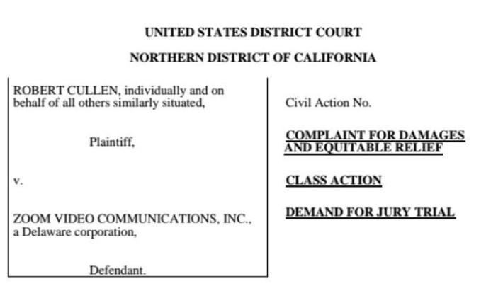 有人在美國就 Zoom 將用戶資料傳送到 Facebook 提出訴訟