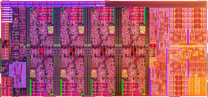 Intel公佈的10代Core-H CPU核心圖,8核心幾乎佔了CPU五分之三的面積。
