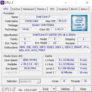 Core i7-10875H擁有8核心16線程規格,性能與Core i9不相上下。