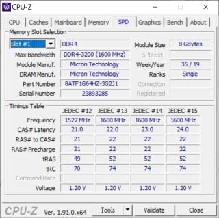 個別型號的筆電更採用DDR4-3200記憶體。圖為測試Gigabyte筆電所用的Micron DDR4-3200記憶體。