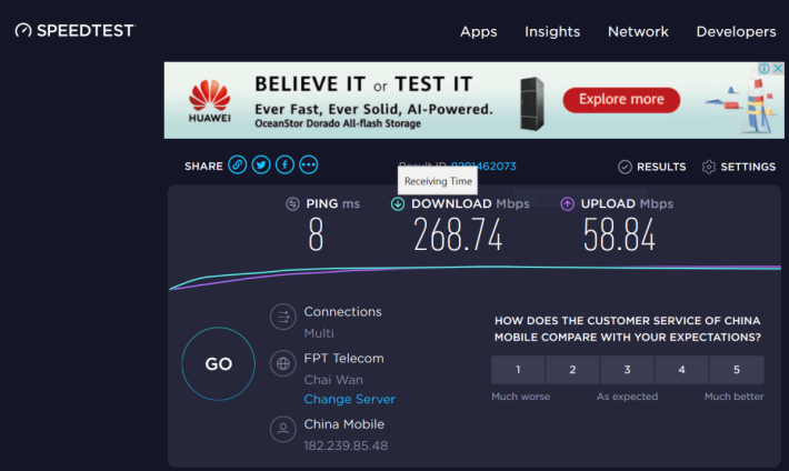 再利用Notebook連接5G CPE Pro用Speedtest測,速度隨時比家用寬頻還快,而且時延值低,不再需要等待才Load得到。