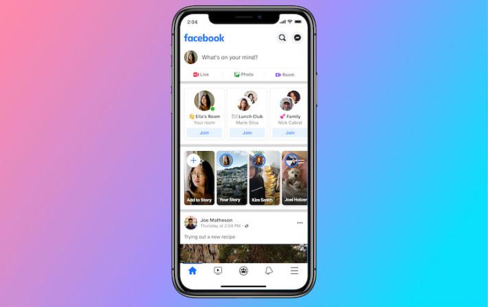 如果受邀加入 Room 的話,用戶會在 Facebook App 限時動態上方看到可以進入的房間。
