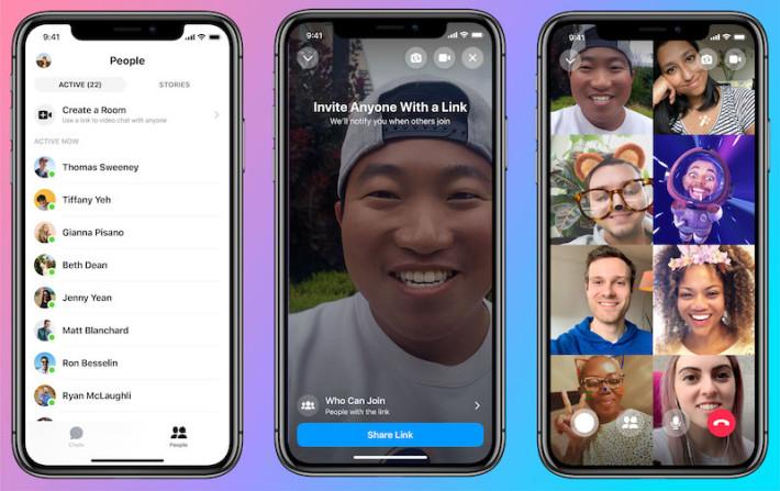 使用 Facebook Messenger Rooms ,入聊天室者不限制是 Facebook 帳戶,並可容納 50 個人,且沒有限制使用時間。
