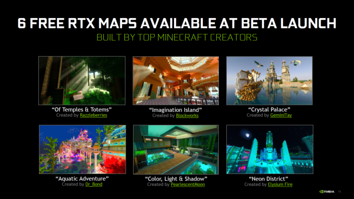 NVIDIA 將於 Minecraft 市集中上架六個全新世界