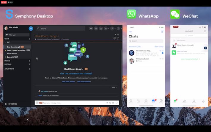 在 Symphony 上與 WhatsApp 和微信連接,方便與客戶聯絡,不失安全環境。