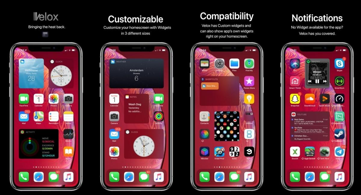 傳聞中的 Home 畫面 Widget 預想圖,用戶可以在 iPhone Home 畫面中加入各種小工具。