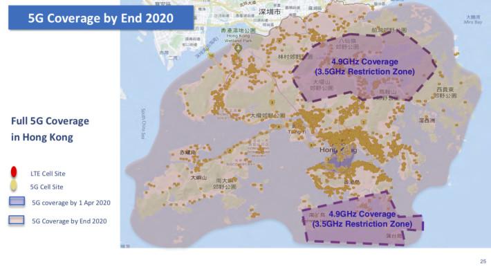 日後 5G 網絡覆蓋至全港各區及主要港鐵線路,3.5GHz「禁區」則會以 4.9GHz 頻段提供服務。