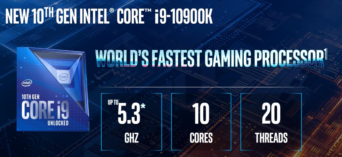 Core i9-10900K 是這次發佈最強的型號。注意其採用的新盒設計。