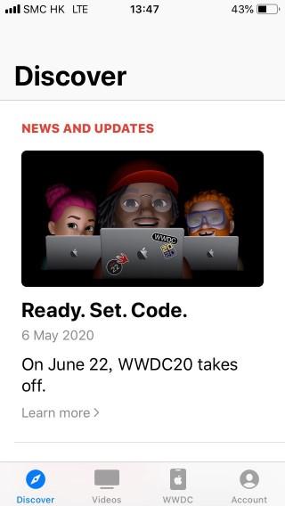 Apple Developer app 使用者,屆時可經由 App 參與 WWDC20 網上虛擬會議。