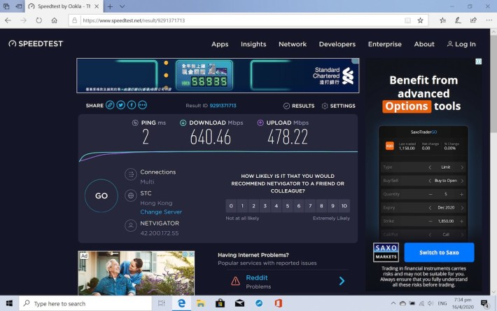 Wi-Fi 6 環境下,上下載速度分別為 478Mbps 及 640Mbps。
