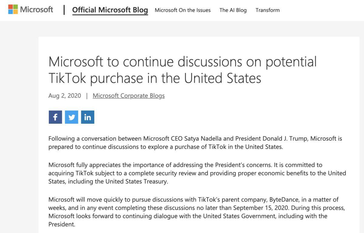 Microsoft 正式公布正洽購 TikTok 在美國的業務。