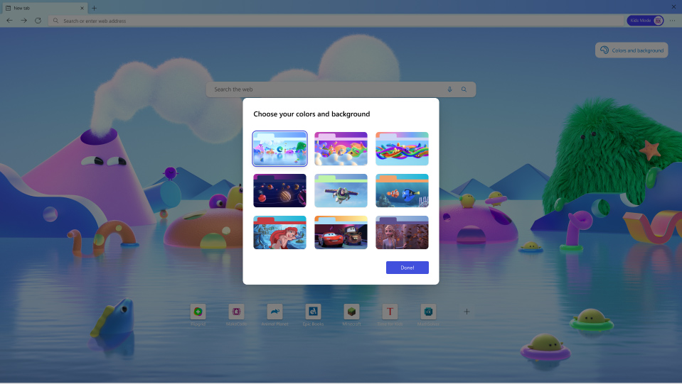 Microsoft 與迪士尼及 Pixar 合作,提供適合兒童的佈景主題。
