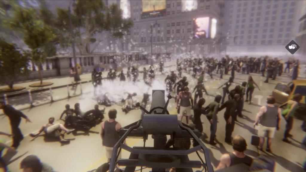 用水砲車驅散示威者。