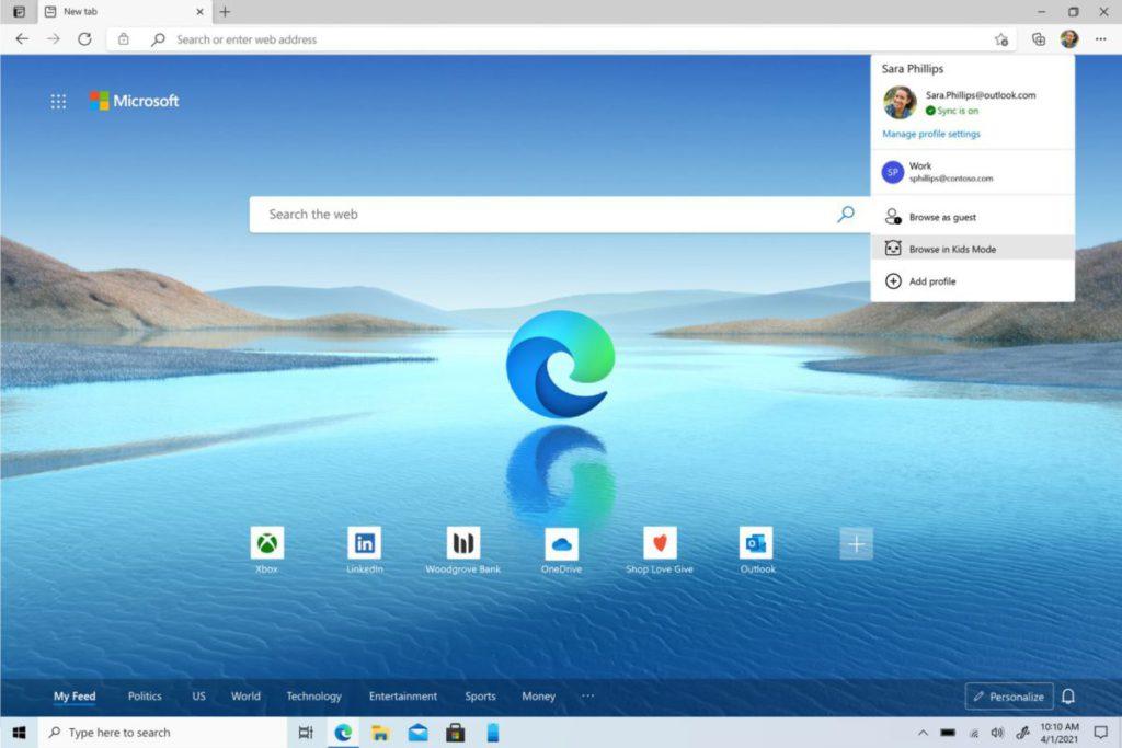 點擊 Microsoft Edge 右上角的帳戶頭像,就可從彈出目標中選擇「 Browser in Kids Mode 」。