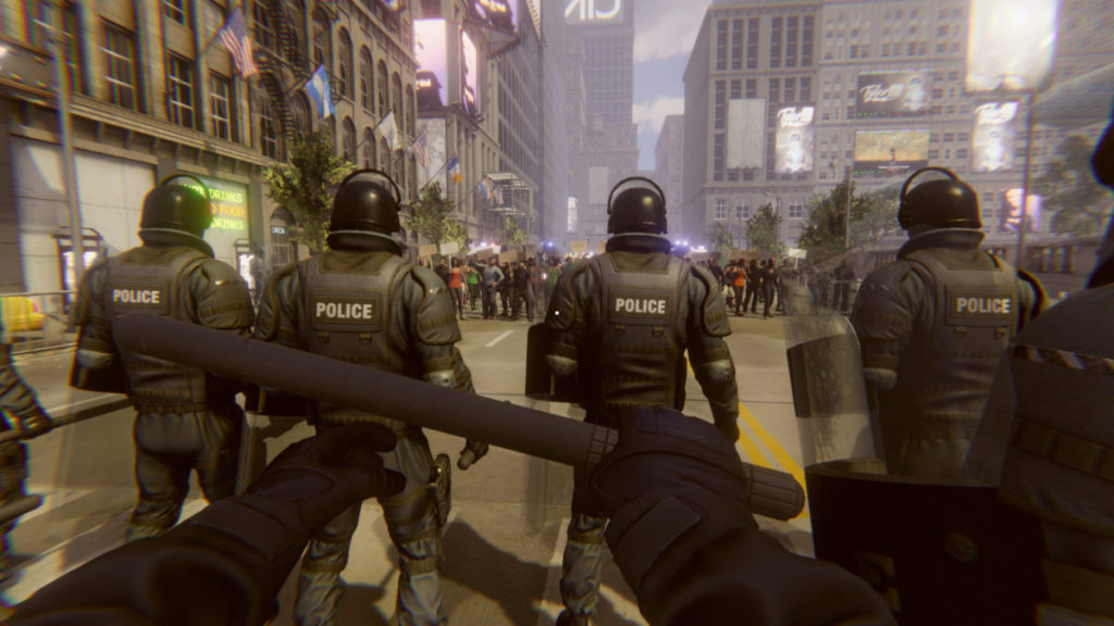 在遊戲中你是一個防暴警察。