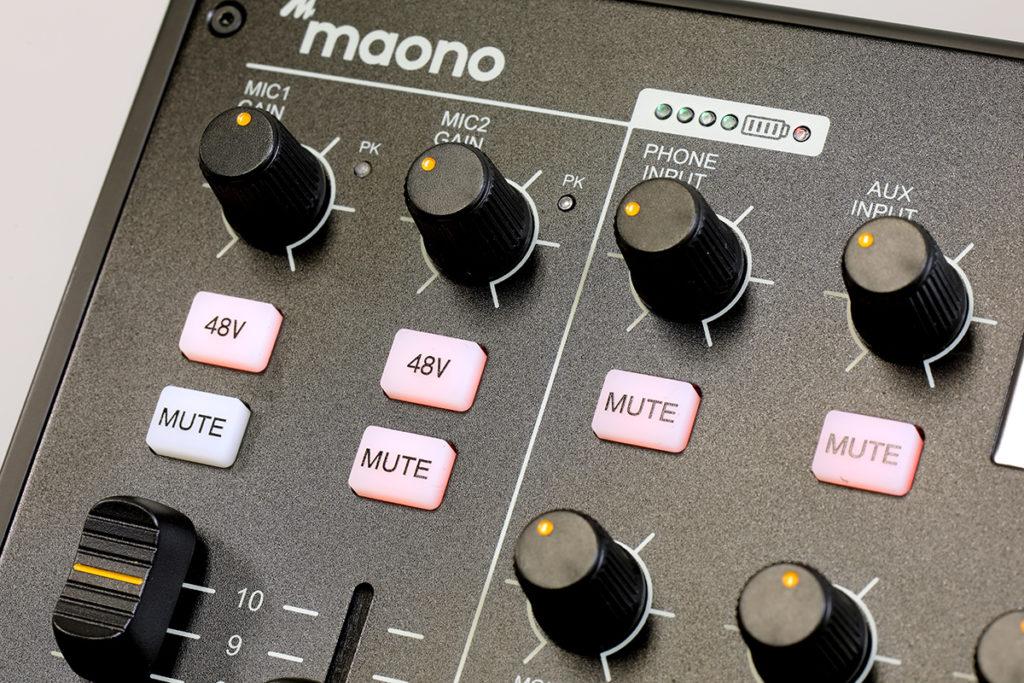 支援 48V 幻象電源,可配合 Condenser Microphone 使用。