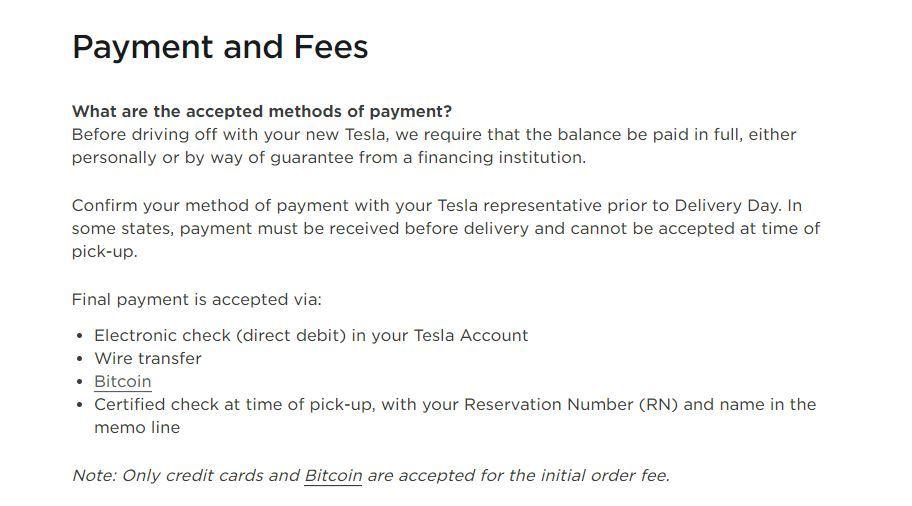 Tesla 由 3 月底開始接受在美國以 Bitcoin 來支付車價,不過今日有關的內容已經被刪除。
